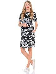 Платье для беременных и кормления 40 недель  Модное повседневное платье для беременных и кормящих женщин выполнено из трикотажного полотна в стильной камуфляжной расцветке. Практичным элементом данного платья является уникальный секрет для кормления который скрыт под кокеткой достаточно приподнять верхний слой и с комфортом покормить малыша грудью не заметно для окружающих. Свободный крой с капюшоном короткие рукава и вместительные карманы придают платью спортивный оттенок защитный окрас в…