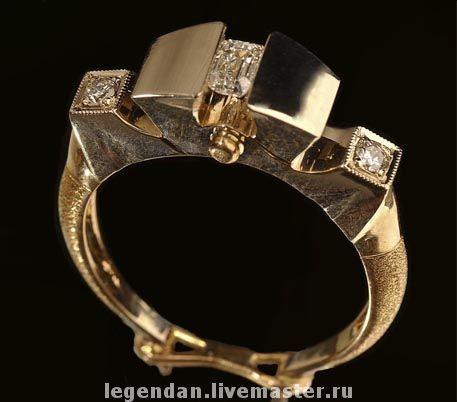 """Купить Золотое мужское кольцо """"Шестерня"""" - мужское украшение, украшение для мужчин, мужское кольцо"""