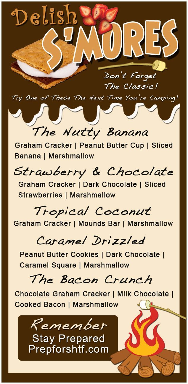 Delicious Camping S'mores Recipes (Graphic) #GoingCamping