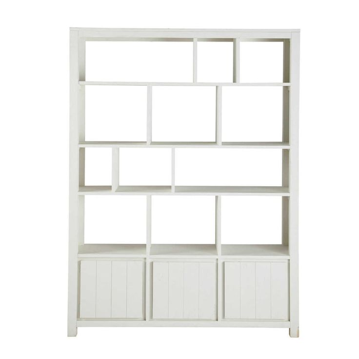 Solid wood bookcase in white W 150cm