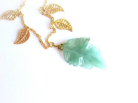 Stone leaf necklace leaves charm necklace green aventurine