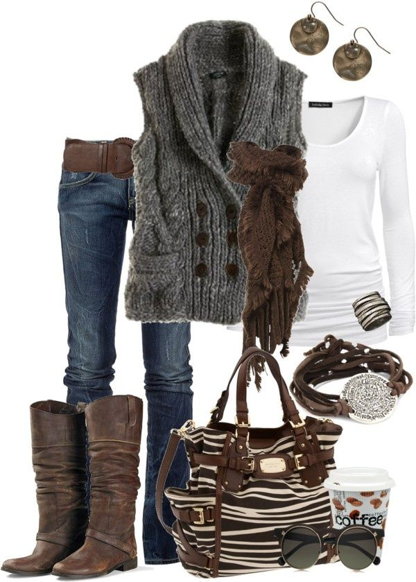 Sweater Clothing - 2014 Fall Outfit. Love that sweater vest and a white tshirt. #falloutfitideas