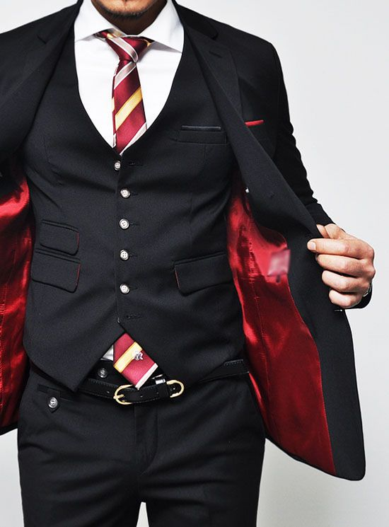 Suits are on sale!!! :: Euro Extra Slim Cut Black 3pc Wool Suit-Suit 18 - Mens Fashion Clothing For An Attractive Guy Look   Raddest Men's Fashion Looks On The Internet: http://www.raddestlooks.org