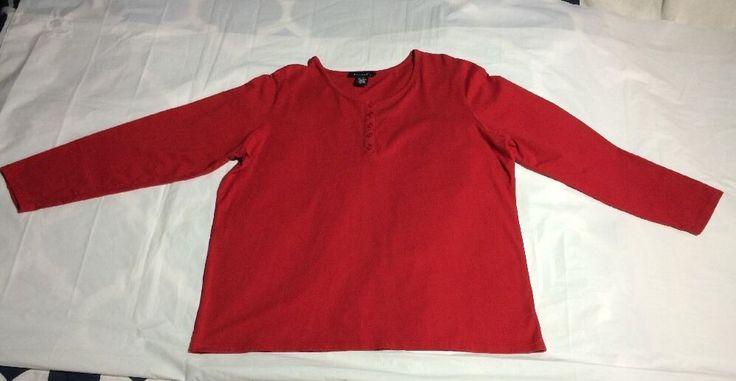 Women's Denim &Co Plus Size 1x Red Top Shirt  #DenimCo #KnitTop #Casual