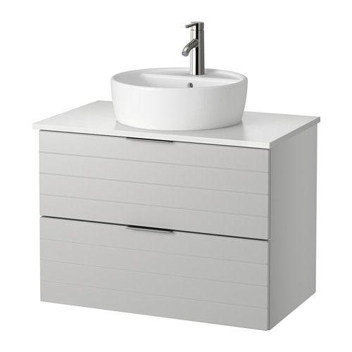 GODMORGON/ALDERN / TÖRNVIKEN Kommod m tvttställ 45 f bänkskiva - vit, ljusgrå, 82x49x74 cm - IKEA