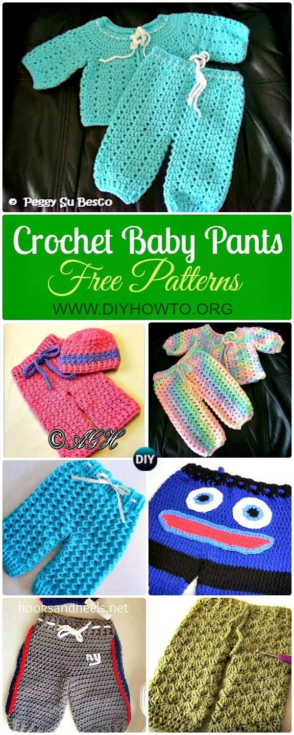 Collection of Crochet Baby Pants Free Patterns Instructions: Crochet Baby Pants, Leggings, Longies, Shorts, Baby Outfits Gift Ideas  via @diyhowto