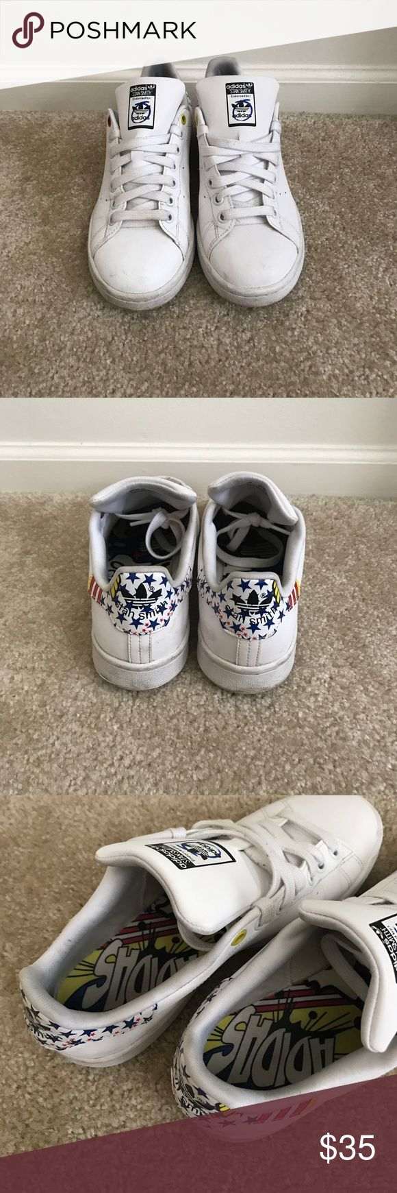 """Rita Ora x adidas Stan Smith """"Reflective"""" Sneaker Cute white """"reflective"""" sneaker - Looks pretty bright when you wear them / Worn throughout last summer for a couple months, soles in great condition / Definite signs of wear on the edges of the shoes / Limited Edition and completely rare purchase Adidas Shoes Sneakers"""