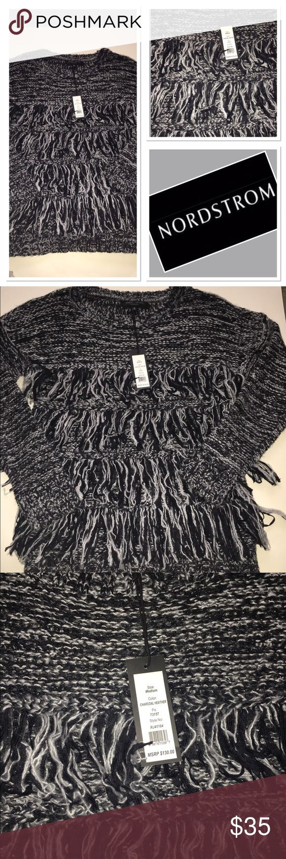 NWT Romeo +Juliet black and white fringe sweater Stunning brand new size M front fringe sweater Romeo & Juliet Couture Sweaters Crew & Scoop Necks