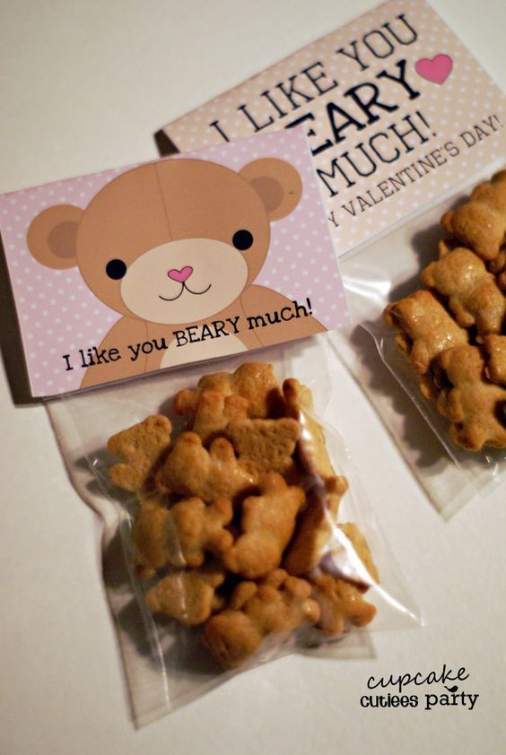 Valentine Bear Treat Bags with Card