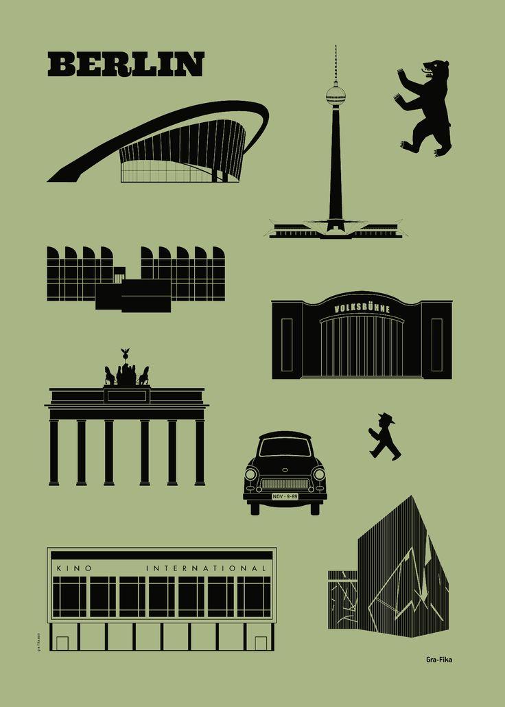 Plakat BERLIN groszek / Gra - Fika #ladnerzeczy #targirzeczyladnych #ladnerzeczydziejasiewinternecie #polishdesign #design