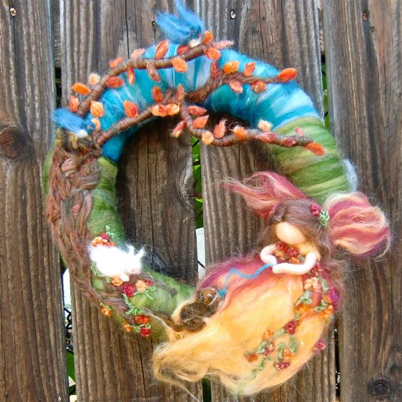 "Wool Needle Felted Wreath - ""In my garden"" Fairy theme with branch- Made to Order...Waldorf inspired by Rebecca Varon via Etsy"