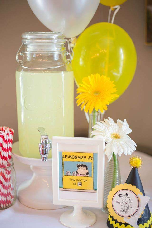 Lemonade stand at a Snoopy & Peanuts birthday party! See more party ideas at CatchMyParty.com!
