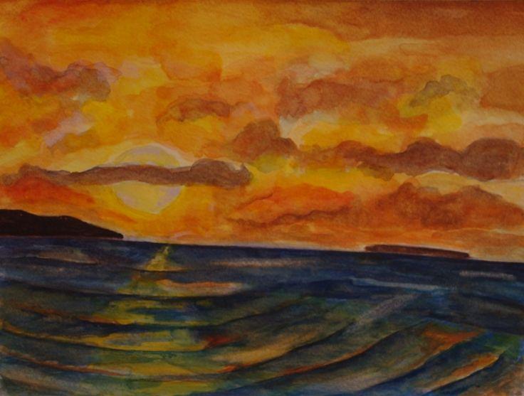 Autumn Sunset by Fiona Concannon on ArtClick.ie Irish Seascape Watercolour Art Galway