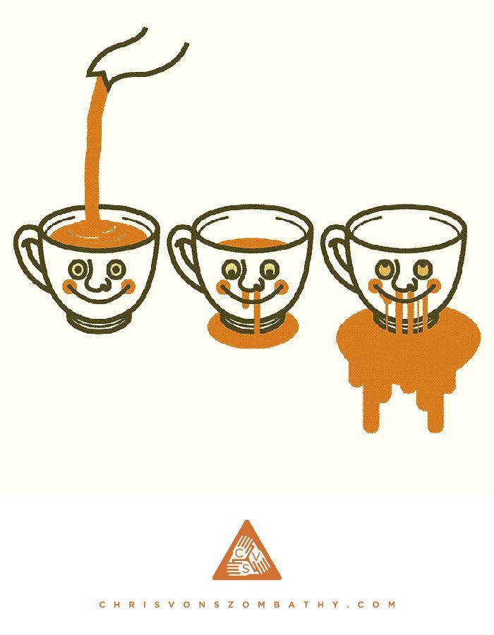 """Teacup"" an illustration by artist/designer Chris von Szombathy."