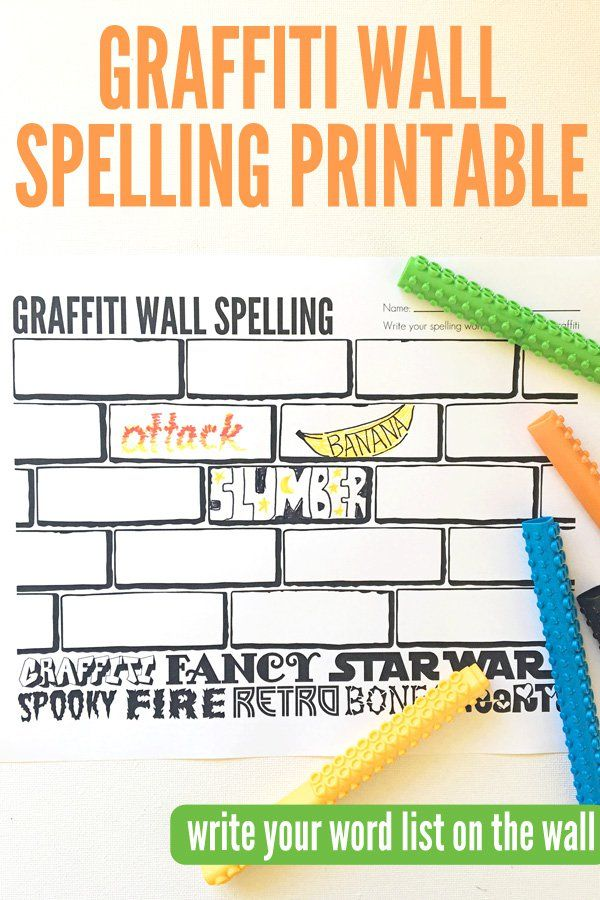 Spelling Activities: Free Graffiti Wall Spellingt Printable for use with any weekly spelling list. Great for homework or in class revision.