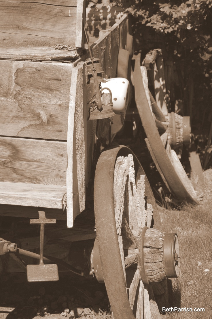 Old wagon that came across the Oregon Trail. It sits in Dufur, Oregon.