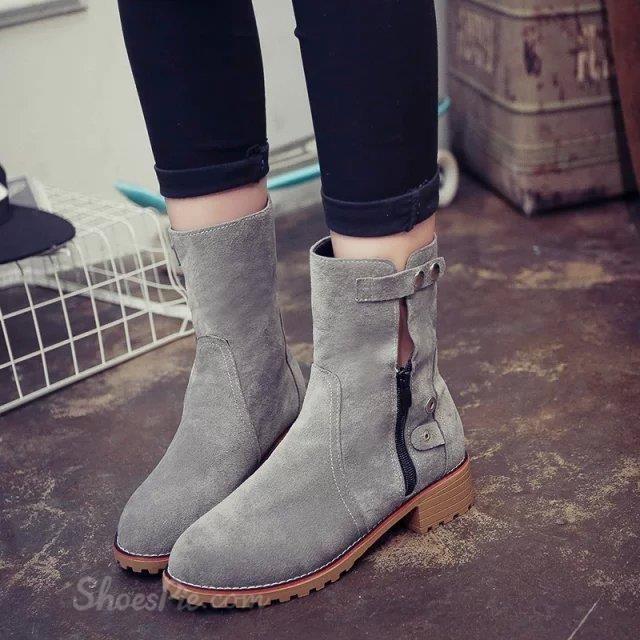cool Shoespie Nubuck Button Zipper Flat Boots