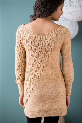 Plumage Pullover from knit.purl. This design contrasts a staggered feather pattern with reverse stockinette stitch to create a texture-block sweater with a strong diagonal line.