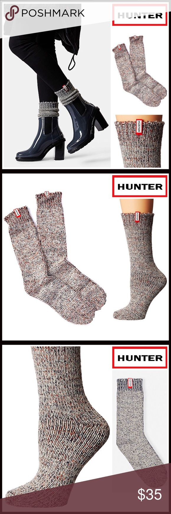HUNTER ORIGINAL Boot Socks  NEW WITH TAGS   HUNTER ORIGINAL Boot Socks  * Super soft, cozy & comfortable fabric * Wool blend construction w/ ribbed knit detail * Stretch-to-fit * One size fits many, approx shoes sizes 5.5-9. Midcalf short boot length * Designed for 'Hunter Original Boots' Fabric- 62% acrylic, 21% wool, 11% polyester, 5% nylon, 1% elastane; Machine wash Item# Color-Navy multi Marled   No Trades ✅Bundle Discounts✅ Hunter Boots Accessories Hosiery & Socks