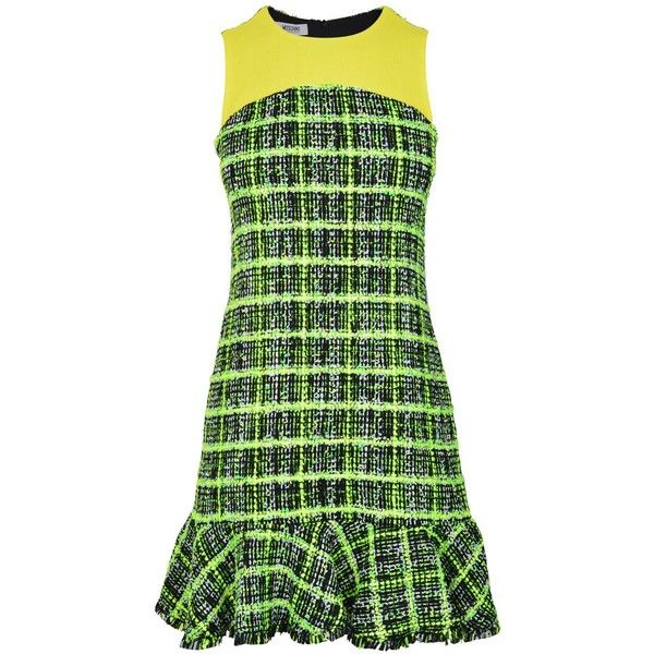 MOSCHINO CHEAP AND CHIC Neon Boucle Dress (21,635 PHP) ❤ liked on Polyvore featuring dresses, lime, green sleeveless dress, neon green dress, shift dress, sleeveless shift dresses and lime green short dress