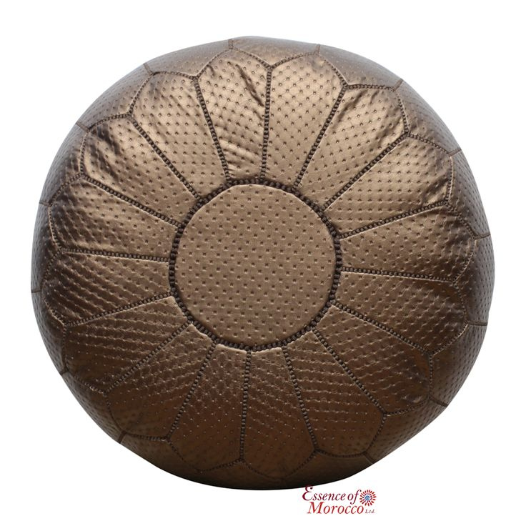 Moroccan Pouffe Ottoman COVER, Premium Quality Genuine Natural Tan Leather. Hand-stiched Handmade in Morocco.