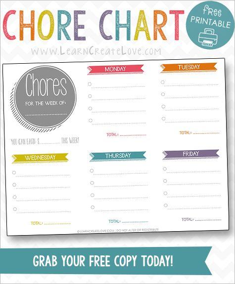 Printable Chore Chart Kid Blogger Network Activities