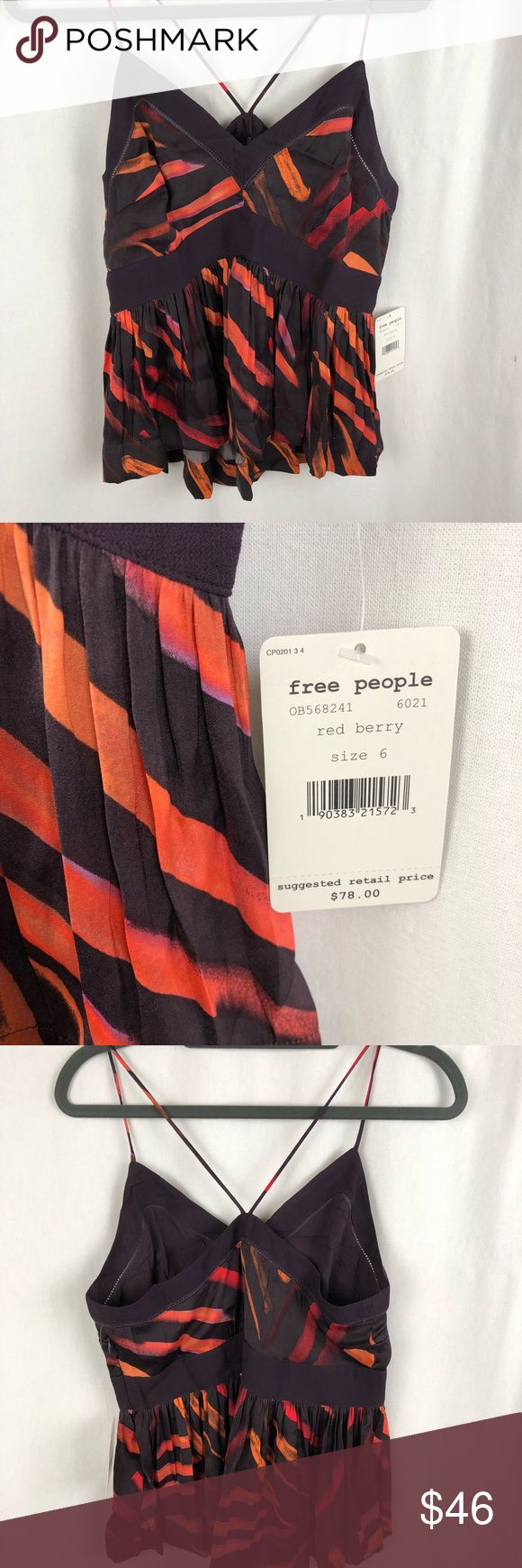 Free people brand new with tags red berry camisole Size 6 smoke free/pet friendly home. Free People Tops Camisoles