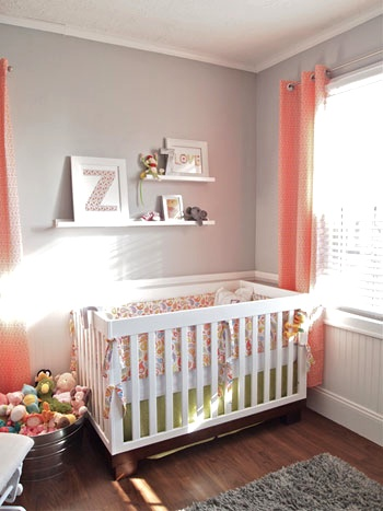 Love the idea of grey walls in a nursery so you can add pops of color with chang