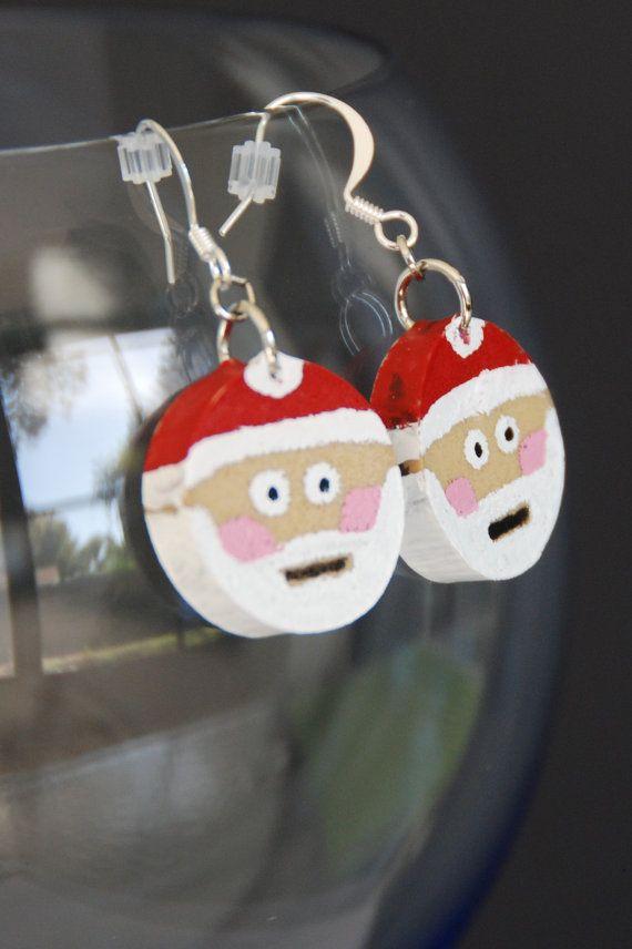 Santa Claus Wine Cork Earrings by GulfCoasters on Etsy, $7.00