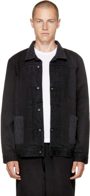 Levis Made And Crafted Black Denim Type Ii Worn Trucker Jacket
