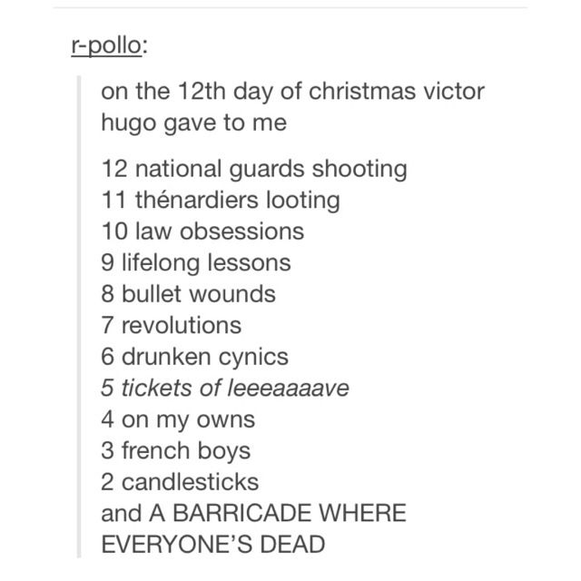Happy holidays from Victor Hugo..  I'll be singing this for the next couple days.