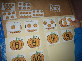 counting pumpkins and leaf color sorting