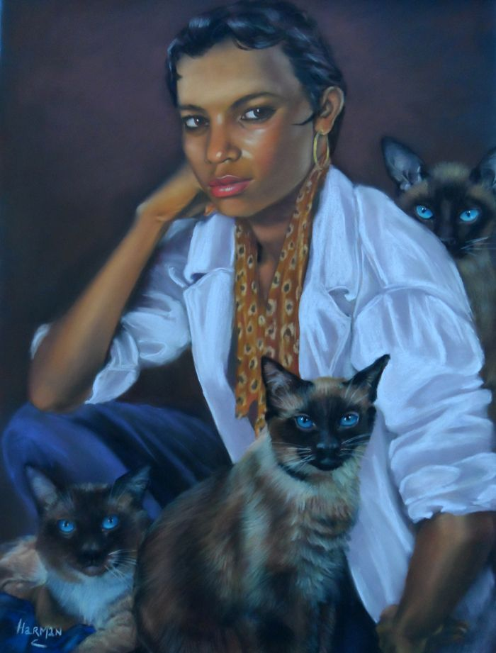 Pastel portrait; 'Feline'.  25 x 19inches. available.
