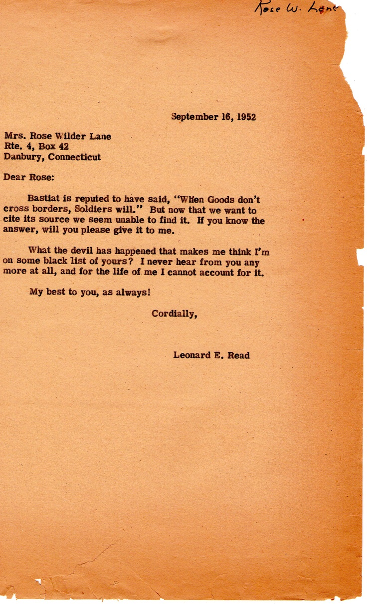 Letter From Leonard Read To Rose Wilder Lane On Bastiat (september 16, 1952)