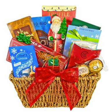 Wish them happy holidays with this delightful gift basket overflowing with a delicious assortment of holiday treats.