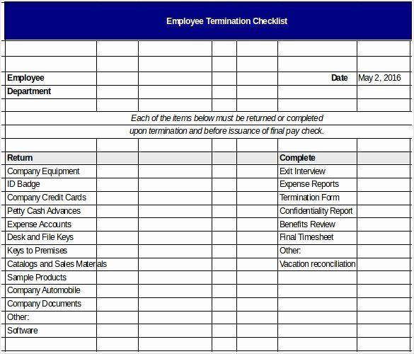 New Employee Checklist Template Excel Fresh Termination Checklist