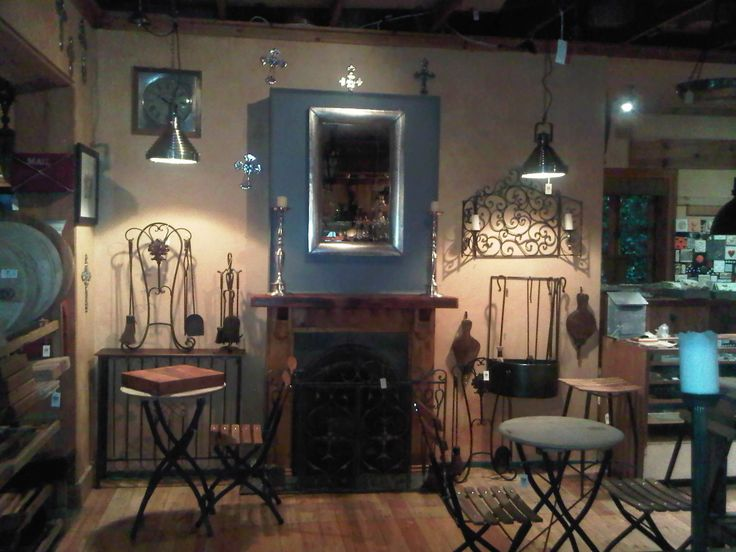 Our fireplace section.  It has grown a wee bit.  We now sell the tools, the bellows and the fire screens.