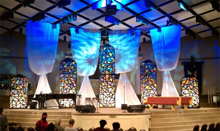 """Create """"stained glass"""" liturgical windows with foam board, voille fabric and LED back lighting!  Instructions and more step by step pics on this link.  Great for Easter or Christmas services."""