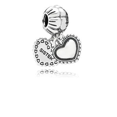 PANDORA's two part heart dangle charm is to be shared with your special sister who is also your friend forever. $60 #PANDORAcharm #Friendship #Family