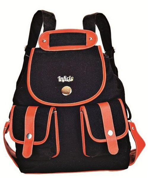 Tas punggung wanita hitam - Model tas punggung wanita terbaru bahan kanvas warna hitam cantik. Trend harga jual tas punggung 2016 murah grosir online shop.
