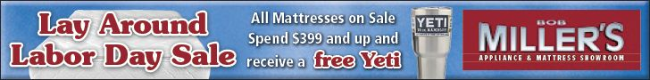 Now's the perfect time to buy a new mattress from Bob Miller's! All mattresses at our South Bend showroom are on sale during our Lay Around Labor Day sale. Spend over $399 and get a free YETI tumbler! Call: 574-291-6000 or visit bobmillers.com Sale runs 8/25-9/6.