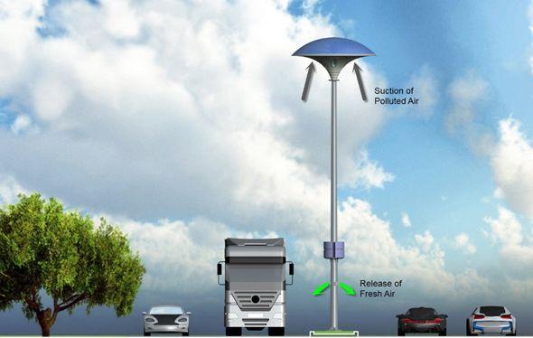 L'Eco Mushroom : un réverbère solaire avec un absorbeur de pollution ‹ infohightech