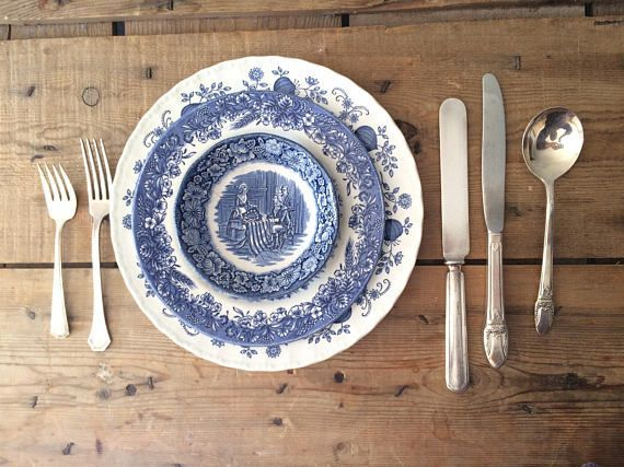 Mismatched Dinner Set BLUE 3 piece place setting Dinner Salad & Dessert Plates  Birthday Tea Party Bridal Shower Anniversary Wedding by VintageFlicker
