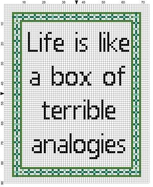 Life is Like a Box of Terrible Analogies - Funny Cross Stitch Pattern - Subversive Snarky Cross Stitch.