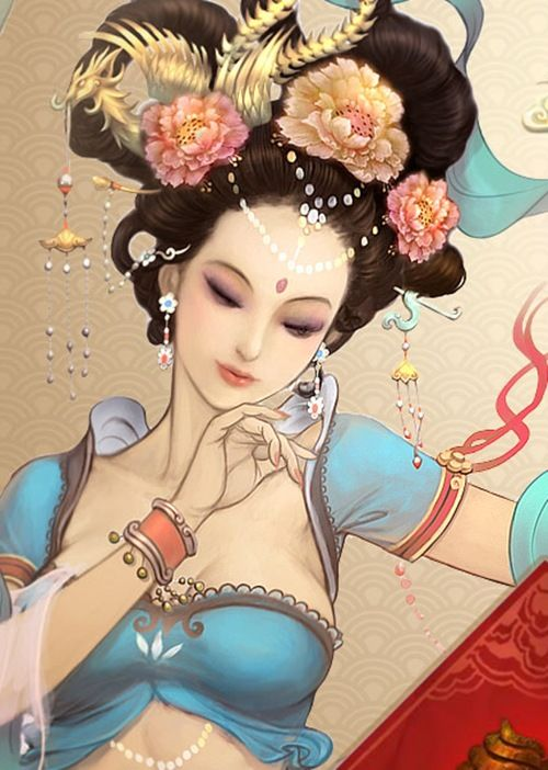 Chinese Tang Dynasty style (Hanfu clothing) it has a bit of Dun Huang influence to the artwork. It reminds me of empress Wu when she was a Royal Concubine.:)
