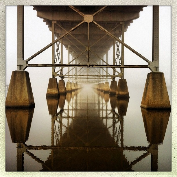 Under the Calcasieu River Bridge - Lake Charles #whpfoggy #lakecharles #visitlakecharles #bridges - @Craig Crawford- #webstagram