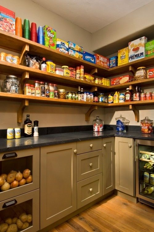 Would be perfect to do as our large pantry in basement. The back of the pantry--using the repurpose cabinets from the kitchen for the base, and then with shelves like these above. To the left would be a broom cabinet, and to the left of that the door going to garage. On the right will sit the deep freezer.