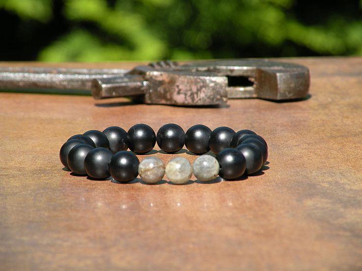 12mm Black Agate, grade AAAAAA, Men Beaded Bracelet, Labradorite Bracelet, Black Agate Rock Bracelet