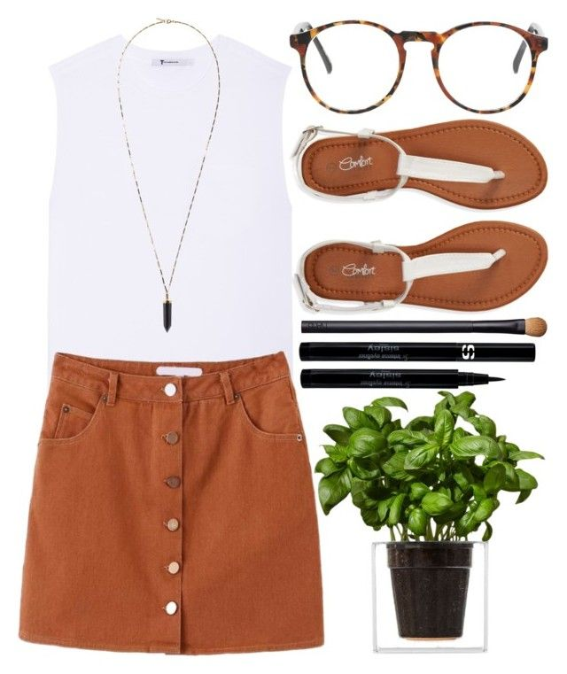 """""""Untitled #266"""" by poppynight ❤ liked on Polyvore featuring T By Alexander Wang, Isabel Marant, Aéropostale, NARS Cosmetics, Boskke, Sisley, AlexanderWang, whitetee, alineskirt and tstrapsandals"""