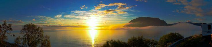 Midnight sun panorama from Elgsnes, Harstad.